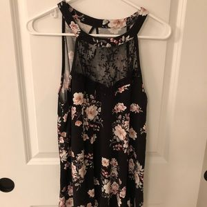 Torrid Floral Knit Top with Lace Detail